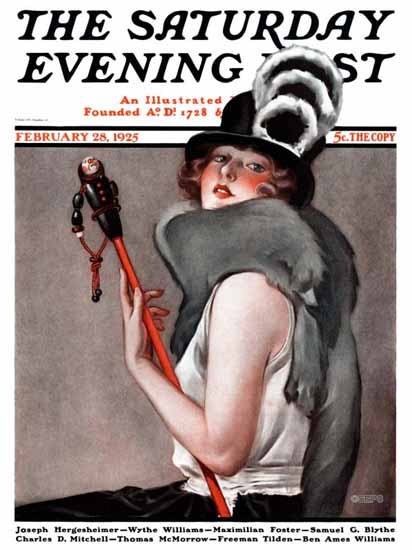Roaring 1920s Roy Best Artist Saturday Evening Post 1925_02_28   Roaring 1920s Ad Art and Magazine Cover Art