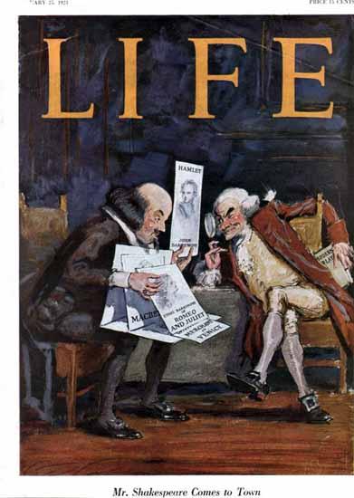 Roaring 1920s Shakespeare Comes Life Magazine 1923-01-25 Copyright | Roaring 1920s Ad Art and Magazine Cover Art
