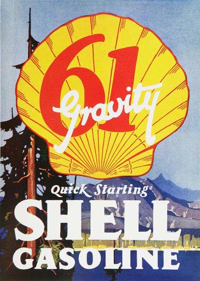 Roaring 1920s Shell Gasoline 61 Gravity Quick Starting 1920s | Roaring 1920s Ad Art and Magazine Cover Art