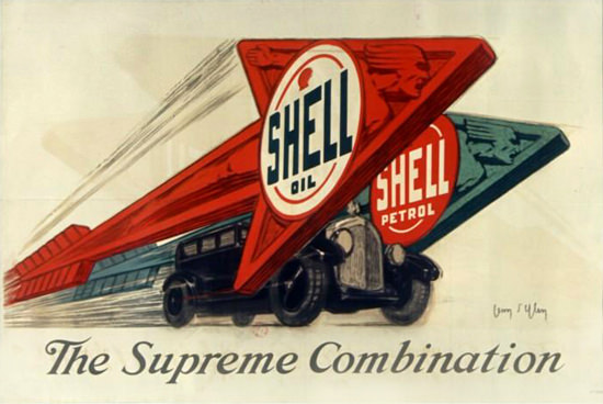 Roaring 1920s Shell Oil Shell Petrol Supreme Combination 1925 | Roaring 1920s Ad Art and Magazine Cover Art