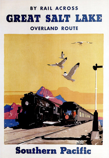 Roaring 1920s Southern Pacific Rail Across Great Salt Lake 1927 | Roaring 1920s Ad Art and Magazine Cover Art