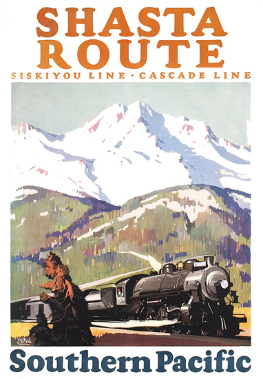 Roaring 1920s Southern Pacific Shasta Route 1927 | Roaring 1920s Ad Art and Magazine Cover Art