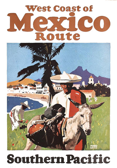 Roaring 1920s Southern Pacific West Coast Mexico Route 1929 | Roaring 1920s Ad Art and Magazine Cover Art