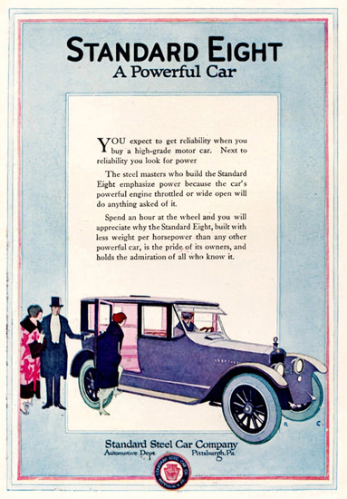 Roaring 1920s Standard Eight 1920 Pittsburgh | Roaring 1920s Ad Art and Magazine Cover Art