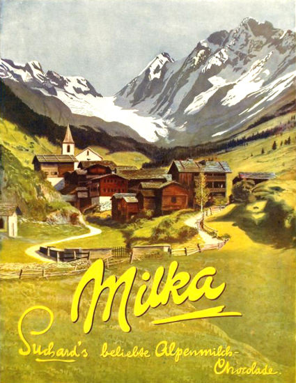 Roaring 1920s Suchard Milka Alpenmilch-Chocolade 1920s | Roaring 1920s Ad Art and Magazine Cover Art