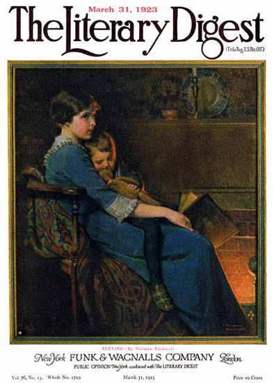 Roaring 1920s The Literary Digest Bedtime 1923 Norman Rockwell | Roaring 1920s Ad Art and Magazine Cover Art
