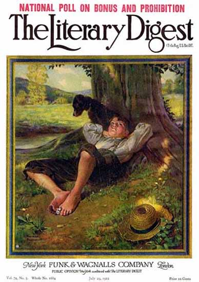 Roaring 1920s The Literary Digest Daydreaming 1922 Norman Rockwell | Roaring 1920s Ad Art and Magazine Cover Art