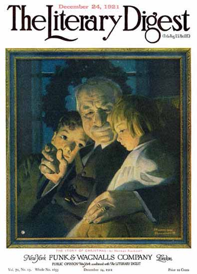 Roaring 1920s The Literary Digest Story of Xmas 1921 Norman Rockwell   Roaring 1920s Ad Art and Magazine Cover Art
