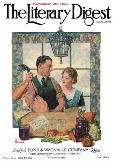 Roaring 1920s The Literary Digest Turkey 1921 Norman Rockwell | Roaring 1920s Ad Art and Magazine Cover Art