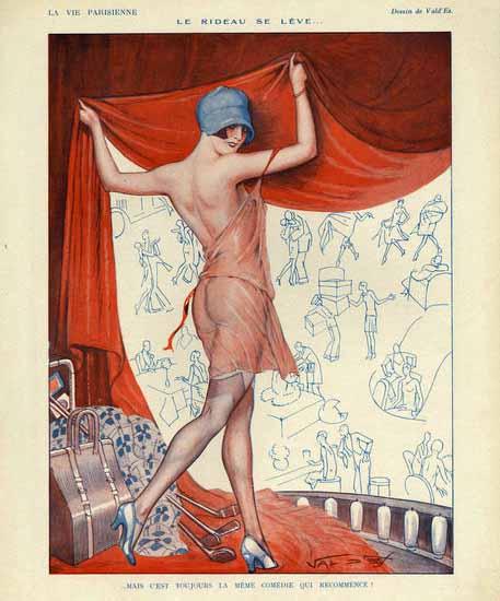 Roaring 1920s ValdEs La Vie Parisienne 1920s Le Rideau Se Leve page | Roaring 1920s Ad Art and Magazine Cover Art