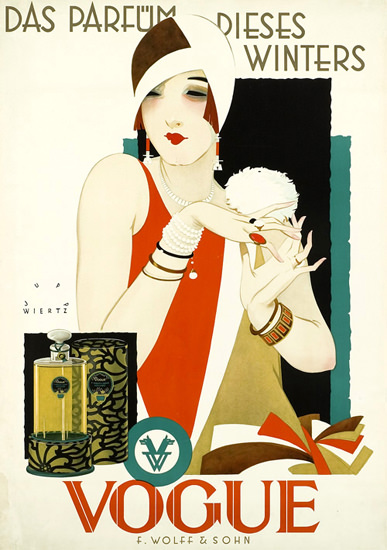 Roaring 1920s Vogue Das Parfuem Dieses Winters Wolff 1927 | Roaring 1920s Ad Art and Magazine Cover Art
