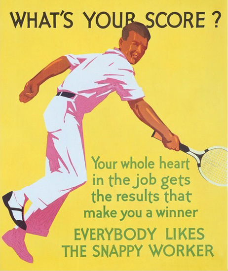 Roaring 1920s Whats Your Score Snappy Worker 1929 Tennis | Roaring 1920s Ad Art and Magazine Cover Art