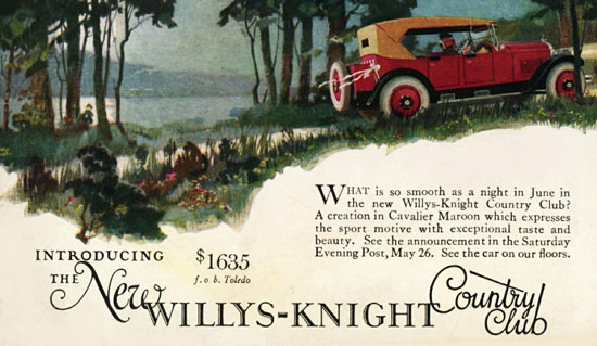 Roaring 1920s Willys Knight Country Club 1923 Toledo | Roaring 1920s Ad Art and Magazine Cover Art