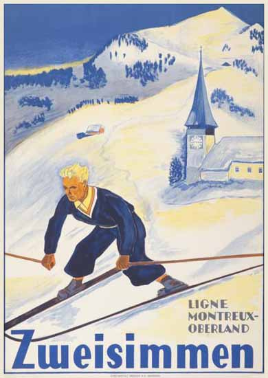 Roaring 1920s Zweisimmen Ligne Montreux Oberland Switzerland 1926 | Roaring 1920s Ad Art and Magazine Cover Art