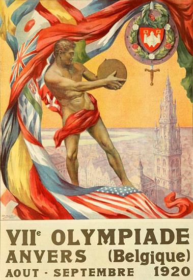 Roaring Twenties 1920s Antwers Summer Olympic Games 1920 | Roaring 1920s Ad Art and Magazine Cover Art