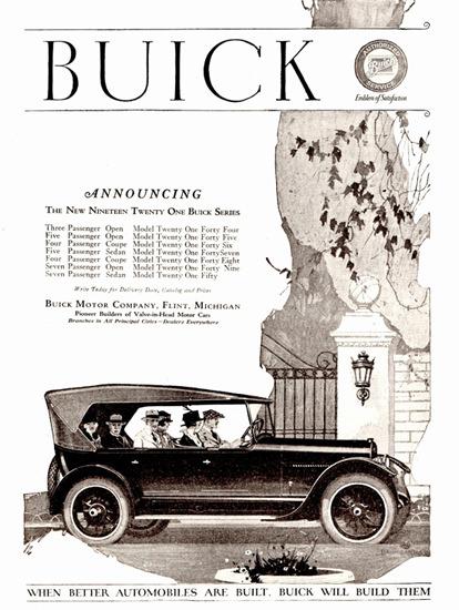 Roaring Twenties 1920s Buick Seven P Open 1921 Flint | Roaring 1920s Ad Art and Magazine Cover Art