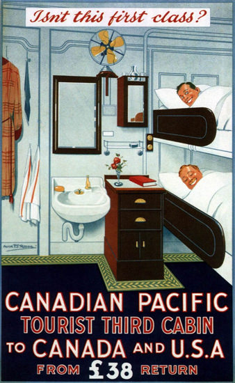 Roaring Twenties 1920s Canadian Pacific Tourist Third Cabin 1925 | Roaring 1920s Ad Art and Magazine Cover Art