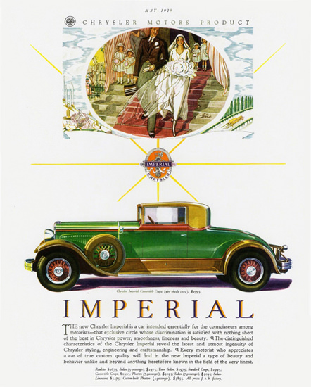 Roaring Twenties 1920s Chrysler Imperial Convertible 1929 Wedding | Roaring 1920s Ad Art and Magazine Cover Art