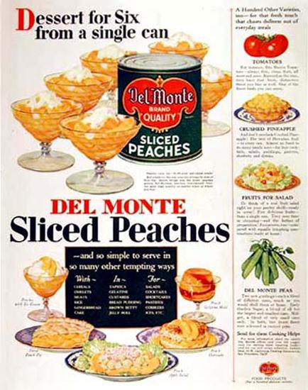 Roaring Twenties 1920s Del Monte Sliced Peaches 1929   Roaring 1920s Ad Art and Magazine Cover Art