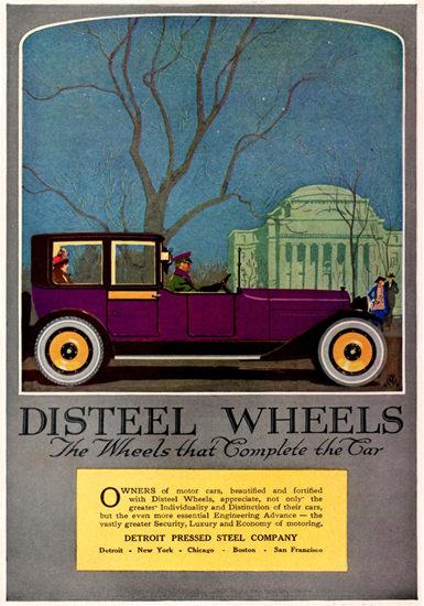 Roaring Twenties 1920s Disteel Wheels Town Car Detroit 1920 | Roaring 1920s Ad Art and Magazine Cover Art