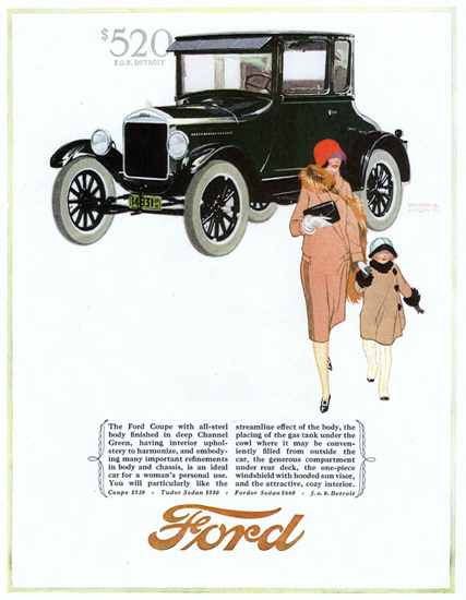Roaring Twenties 1920s Ford Model T Coupe Detroit 1926 | Roaring 1920s Ad Art and Magazine Cover Art