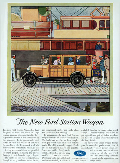 Roaring Twenties 1920s Ford Station Wagon Detroit 1929 | Roaring 1920s Ad Art and Magazine Cover Art
