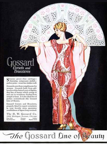 Roaring Twenties 1920s Gossard Corsets And Brassieres 1920s | Roaring 1920s Ad Art and Magazine Cover Art