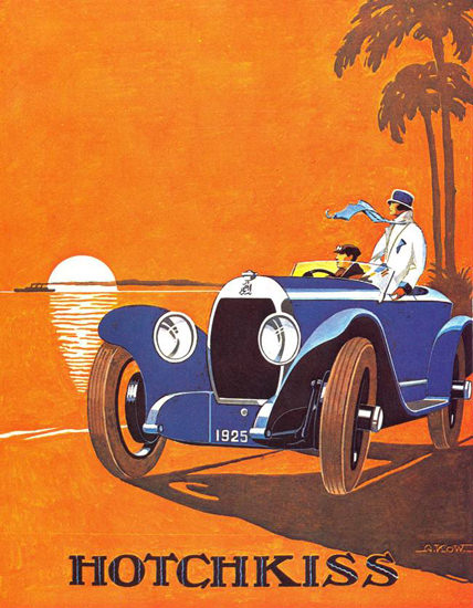 Roaring Twenties 1920s Hotchkiss 1925 Blue | Roaring 1920s Ad Art and Magazine Cover Art