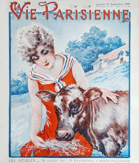 Roaring Twenties 1920s La Vie Parisienne 1929 Les Adieu   Roaring 1920s Ad Art and Magazine Cover Art