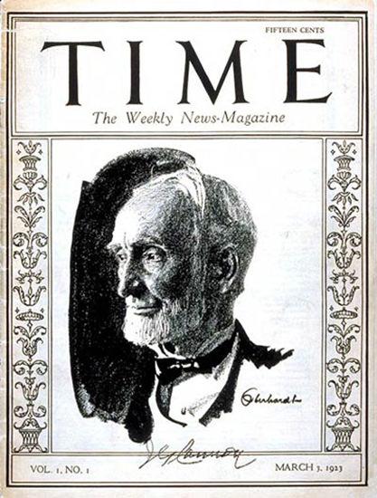 Roaring Twenties 1923-03 Joseph G Cannon Copyright Time Magazine | Roaring 1920s Ad Art and Magazine Cover Art