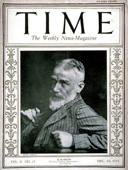 Roaring Twenties 1923-12 George Bernard Shaw CopyR Time Magazine | Roaring 1920s Ad Art and Magazine Cover Art