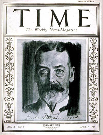 Roaring Twenties 1924-04 King George V Copyright Time Magazine | Roaring 1920s Ad Art and Magazine Cover Art