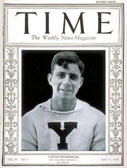 Roaring Twenties 1924-07 James S Rockefeller Copyright Time Magazine | Roaring 1920s Ad Art and Magazine Cover Art