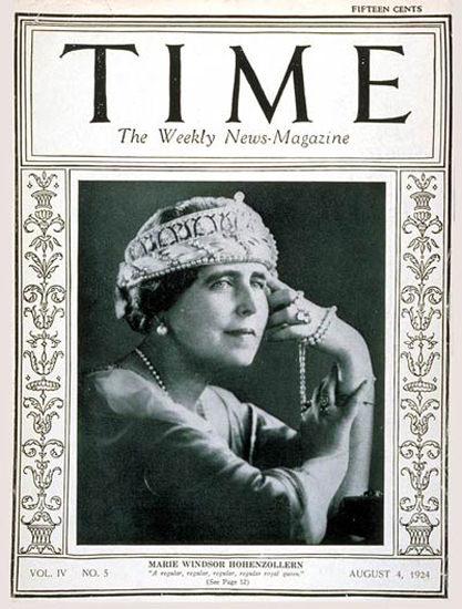 Roaring Twenties 1924-08 Queen Marie Copyright Time Magazine | Roaring 1920s Ad Art and Magazine Cover Art