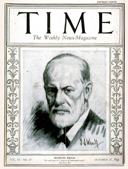 Roaring Twenties 1924-10 Sigmund Freud Copyright Time Magazine | Roaring 1920s Ad Art and Magazine Cover Art