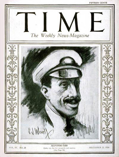 Roaring Twenties 1924-12 King Alfonso XIII Copyright Time Magazine | Roaring 1920s Ad Art and Magazine Cover Art