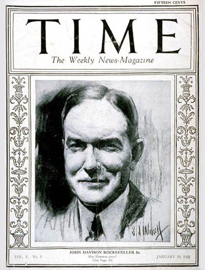 Roaring Twenties 1925-01 John D Rockefeller Jr Copyright Time Magazine | Roaring 1920s Ad Art and Magazine Cover Art