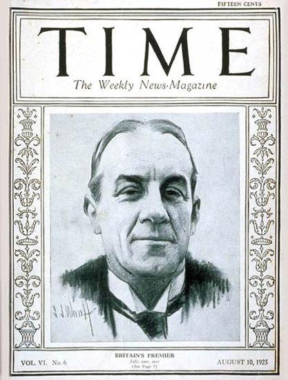 Roaring Twenties 1925-08 Stanley Baldwin Copyright Time Magazine | Roaring 1920s Ad Art and Magazine Cover Art