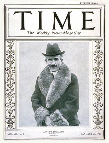 Roaring Twenties 1926-01 Arturo Toscanini Copyright Time Magazine | Roaring 1920s Ad Art and Magazine Cover Art
