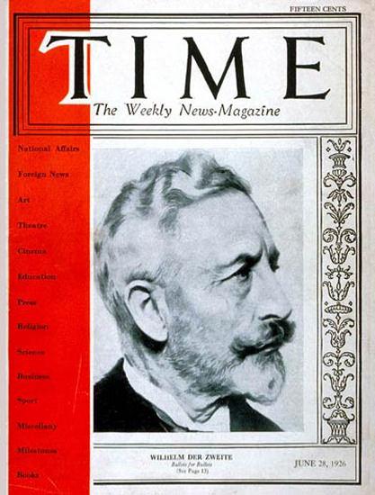 Roaring Twenties 1926-06 Wilhelm II Copyright Time Magazine | Roaring 1920s Ad Art and Magazine Cover Art