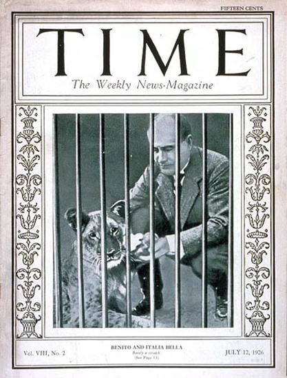 Roaring Twenties 1926-07 Benito Mussolini Copyright Time Magazine | Roaring 1920s Ad Art and Magazine Cover Art