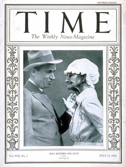 Roaring Twenties 1926-07 Will Rogers Copyright Time Magazine | Roaring 1920s Ad Art and Magazine Cover Art