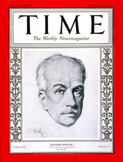 Roaring Twenties 1927-01 Richard Strauss Copyright Time Magazine | Roaring 1920s Ad Art and Magazine Cover Art