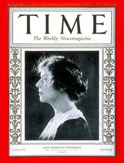 Roaring Twenties 1927-02 Alice R Longworth Copyright Time Magazine | Roaring 1920s Ad Art and Magazine Cover Art