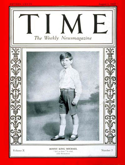 Roaring Twenties 1927-08 King Michael I Copyright Time Magazine | Roaring 1920s Ad Art and Magazine Cover Art