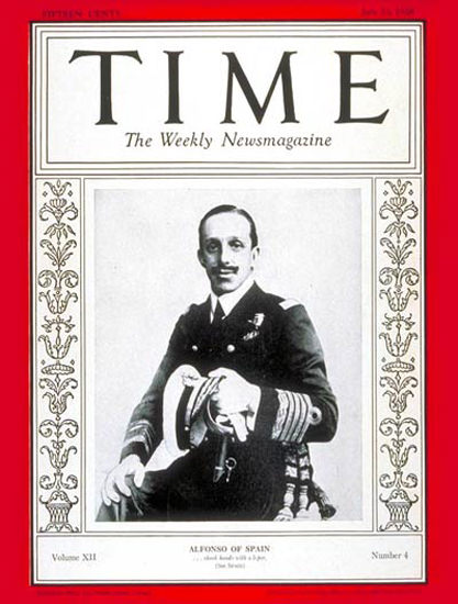 Roaring Twenties 1928-07 King Alfonso XIII Copyright Time Magazine | Roaring 1920s Ad Art and Magazine Cover Art