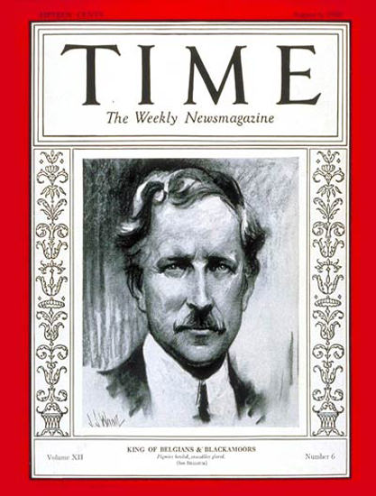 Roaring Twenties 1928-08 King Albert I Copyright Time Magazine | Roaring 1920s Ad Art and Magazine Cover Art