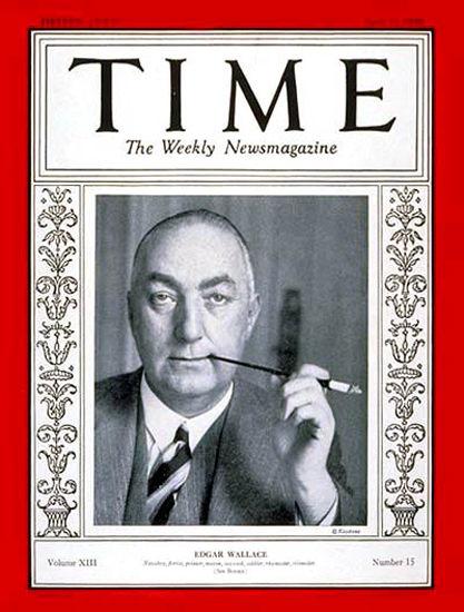Roaring Twenties 1929-04 Edgar Wallace Copyright Time Magazine | Roaring 1920s Ad Art and Magazine Cover Art