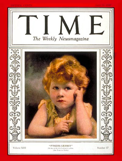 Roaring Twenties 1929-04 Princess Elizabeth Copyright Time Magazine | Roaring 1920s Ad Art and Magazine Cover Art