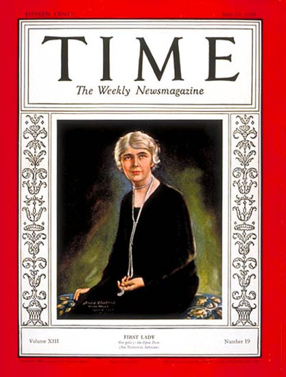 Roaring Twenties 1929-05 Mrs Herbert Hoover Copyright Time Magazine | Roaring 1920s Ad Art and Magazine Cover Art